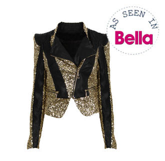 View Item Gold SequinFaux Leather Panel Biker Jacket